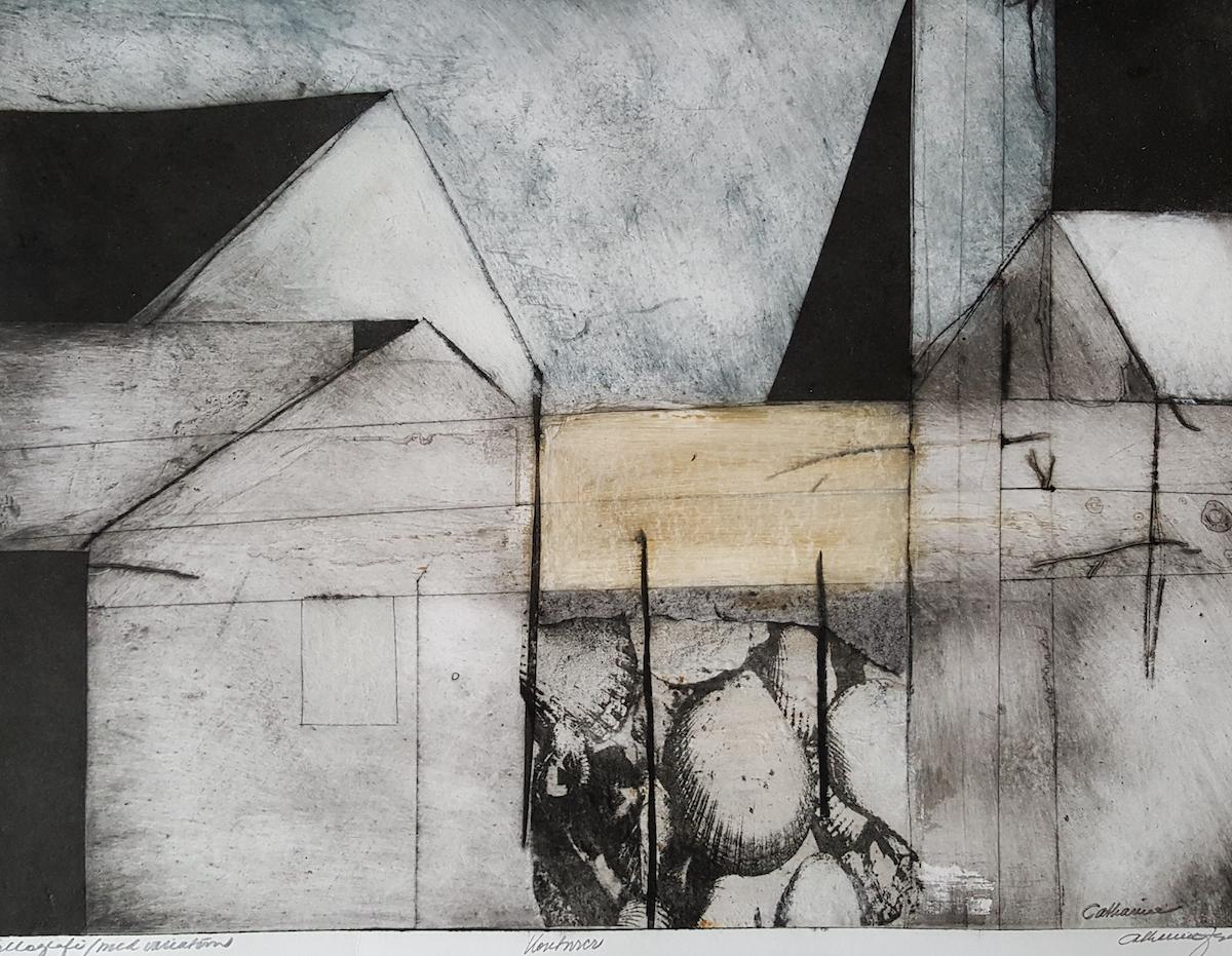 Catharina Johansson Berg Grafik | Collografi, fyra färgvarianter 80 x 60 cm med svart ram 6 500 kr, signerad upplaga 4 ex cattisjberg.com