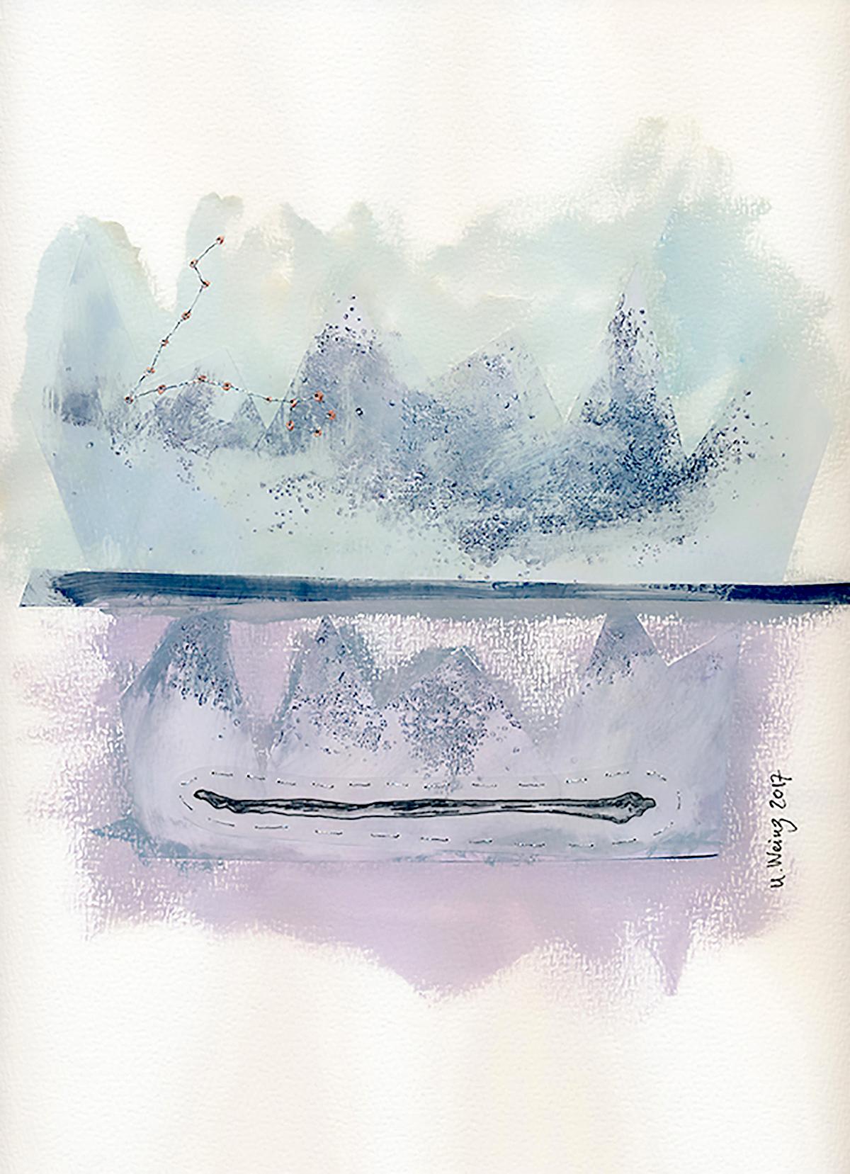 Ulrika Weinz Mixed media |Gouache, collage på akvarellpapper 23 x 30 cm, monterad flygande på vit passepartout 35,5 x 42,5 cm. 5 700 kr weinzatwork.com